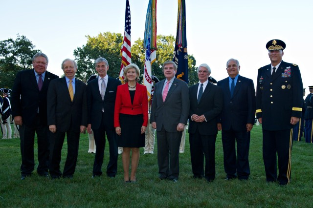 From Left: Norman Dicks, Joe Lieberman, the Honorable John McHugh, Kay Bailey Hutchinson, Ben Nelson, Jerry Lewis, Silvestre Reyes and Army Chief of Staff Gen. Raymond Odierno pose for a photograph during the Department of the Army tribute to retiring members of Congress at Whipple Field on Joint Base Myer-Henderson Hall, Va. July 25, 2012.