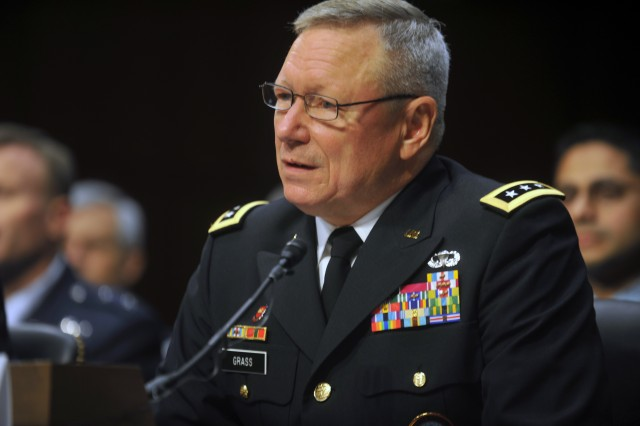 Lt. Gen. Frank Grass testifies before the U.S. Senate Committee on Armed Services at a confirmation hearing for his appointment to the grade of general and to be Chief, National Guard Bureau in Washington, D.C., July 19, 2012.