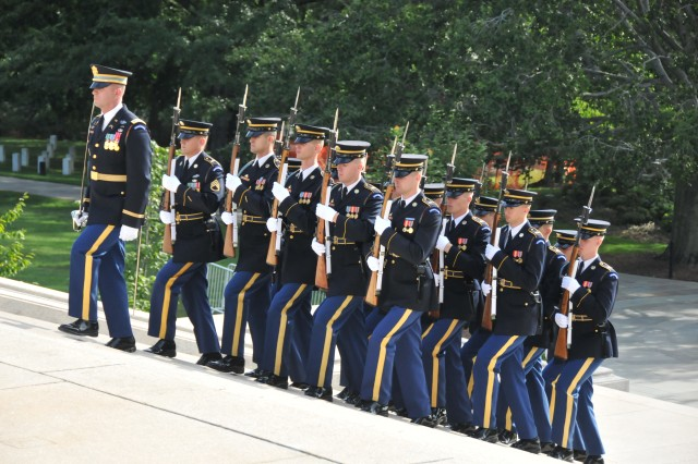 Soldiers of the 3rd U.S. Infantry Regiment, The Old Guard, participate July 27, 2012, during commemoration ceremonies marking the 59th anniversary of the signing of the armistice that ended fighting on the Korean Peninsula, July 27, 1953.