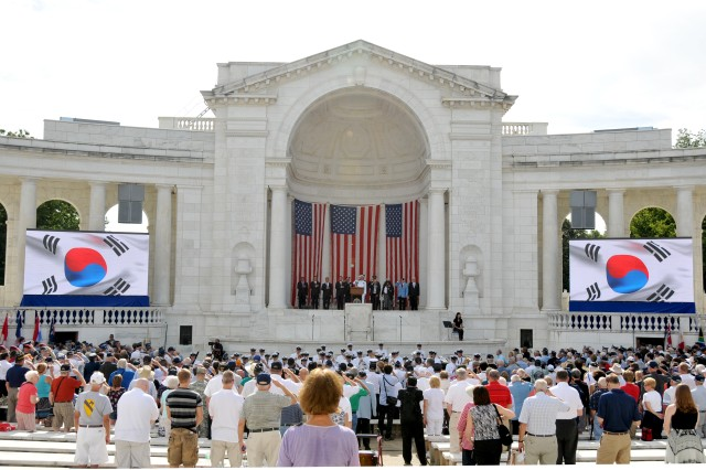 Commemoration ceremonies were held in Memorial Amphitheater in Arlington National Cemetery, July 27, 2012, marking the 59th anniversary of the signing of the armistice that ended fighting on the Korean Peninsula, July 27, 1953.
