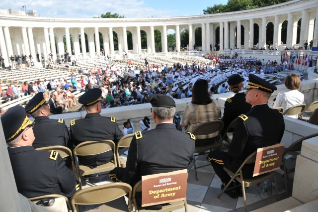 Army leaders view ceremonies at Memorial Amphitheater in Arlington National Cemetery, July 27, 2012. Commemoration ceremonies were held, marking the 59th anniversary of the signing of the armistice that ended fighting on the Korean Peninsula, July 27, 1953.