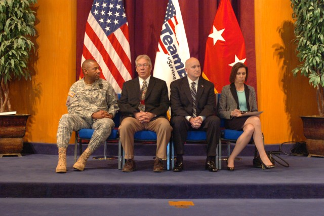 (From left) Fort Bliss and 1st Armored Division commander, Maj. Gen. Dana J. H. Pittard, Bill Lang, lead developer of LivingWorks programs, Jerry M. Swanner, executive director of the U.S. Office of LivingWorks Education and Dr. Barbara Van Dahlen, founder of Give an Hour, sit as honored guests at the LivingWorks Community of Excellence Award ceremony held at Hope Chapel at Fort Bliss, Texas July 26, 2012.