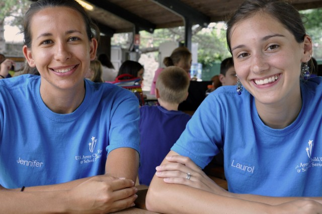 From left, Jennifer Lewicki and Laurol Bartlett are two of the six summer camp counselors that provide oversight of the camp program for up to 45 children daily.  Lewicki, who teaches 10th grade at Colonie High School, said that there is a special innocence with such a young group that is very refreshing to her. Bartlett, who will be teaching at Rensselaer Park Elementary School this fall, said that the children are in many ways like family to her.