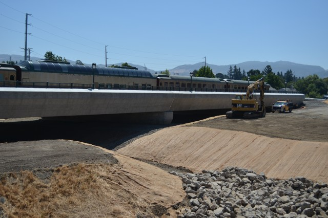 The U.S. Army Corps of Engineers Sacramento District will wrap up construction Aug. 3, 2012, on a significant effort in downtown Napa, Calif., to raise 3,300 feet of railroad tracks as much as six feet and construct two new bridges to help reduce the city's flood risk.