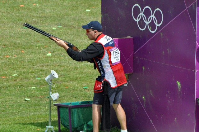 Sgt. Vincent Hancock prepares to fire in Olympic men's skeet, July 30, 2012, at the Royal Artillery Barracks in London, during a day in which he scored 74 of 75 and leads the pack in a hunt for the gold medal, July 31.