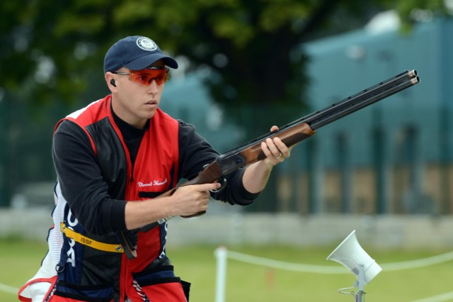 U.S. Army Marksmanship Unit shotgun shooter Sgt. Vincent Hancock sets an Olympic record in skeet qualification with a score of 123 on Monday and Tuesday at the Royal Artillery Barracks in London. Hancock eclipsed his own mark of 121 set in Beijing in 2008. With 25 shots remaining in the final, Hancock holds a one-shot lead over Denmark's Anders Golding, who is still shooting his final round of qualification.