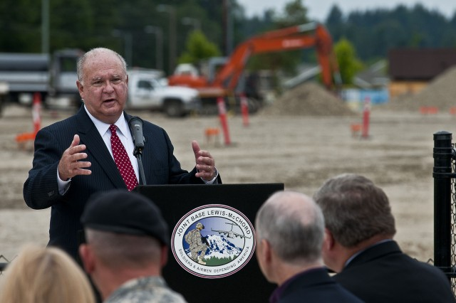 Undersecretary of the Army Joseph W. Westphal speaks to leadership at Joint Base Lewis-McChord, Wash., and members of the community during a groundbreaking ceremony, July 30, 2012, signifying the official start of a year-long construction project to completely rebuild the installation's Hillside and Carter Lake Elementary Schools. The Department of Defense deemed the schools two of the top five in military communities across the U.S. in need of immediate attention during a nationwide assessment that justified a $250 million addition to the fiscal year 2011 department appropriations bill to fix the schools.