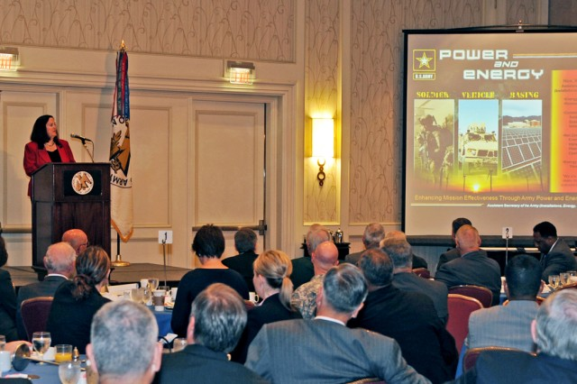 Assistant Secretary of the Army for Installations, Energy and Environment Katherine Hammack told members of the Association of the U.S. Army that stewardship of water and power resources begins with behavioral changes by all Soldiers.