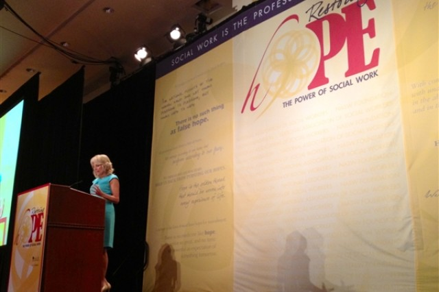 """Dr. Jill Biden, wife of Vice President Joe Biden, speaks at the National Association of Social Workers annual convention in Washington, D.C., July 25, 2012. Biden announced the association's commitment to help military families and veterans as part of the """"Joining Forces"""" campaign."""
