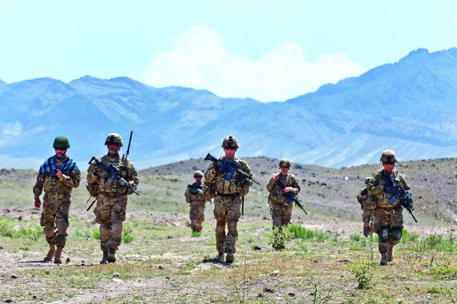 Paratroopers with the 82nd Airborne Division conduct a patrol May 19 in  Ghazni province, Afghanistan. The Soldiers are assigned to 3rd Squadron, 73rd Cavalry Regiment.