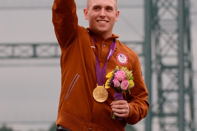 Sgt. Vincent Hancock, with the U.S. Army Marksmanship Unit, became the first shotgun shooter to win consecutive Olympic gold medals in men's skeet, July 31, 2012, at the Royal Artillery Barracks in London. Hancock, 23, of Eatonton, Ga., eclipsed his own records set at the 2008 Beijing Games for both qualification (123) and total (148) scores. He struck gold in China with a qualification score of 121 and total of 145. Hancock prevailed by two shots over silver medalist Anders Golding (146) of Denmark and by four shots over Qatar's Nasser Al-Attiya (144), who secured the bronze medal by winning a shoot-off against Russia's Valeriy Shomin.