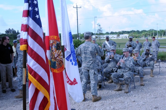 The 313th Army Band out of Birmingham, Ala. plays during a ground breaking ceremony for a new Army Reserve center in Cape Coral, Fla. on July 28.