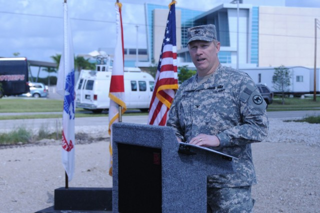 Col. Patrick Briley, Director of Public Works for the 81st Regional Support Command at Fort Jackson, S.C., speaks during a ground breaking ceremony for a new Army Reserve center in Cape Coral, Florida on July 28.