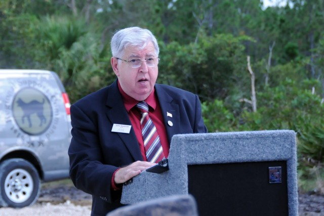 Mr. John Sullivan, Mayor of Cape Coral, Florida, addresses the attendees of a ground breaking ceremony for a new Army Reserve center on July 28.