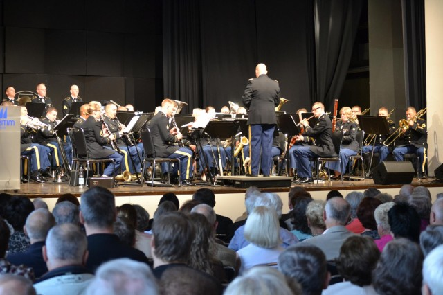 The 85th Army Band, an Army Reserve unit based out of Arlington Heights, Ill., plays a concert July 20, 2012, for an audience of about 600 persons at the Orangery Convention Center in Fulda, Germany. The band was on overseas deployment training and assisted the U.S. Army Europe Band and Chorus.