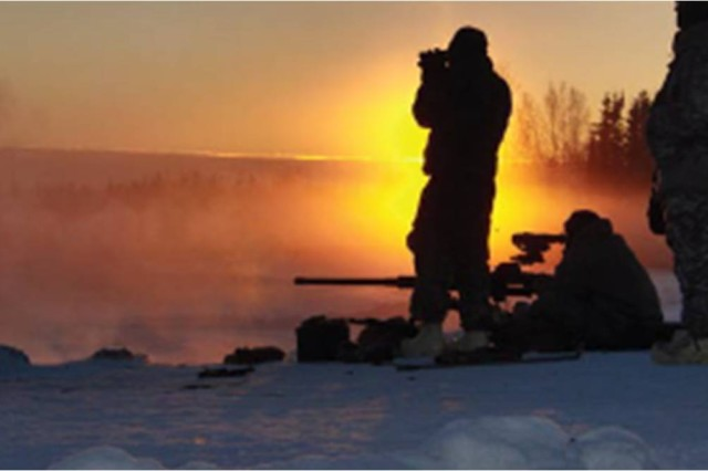 Soldiers brave -40 degree F temperatures to test a Thermal Weapons Sight
