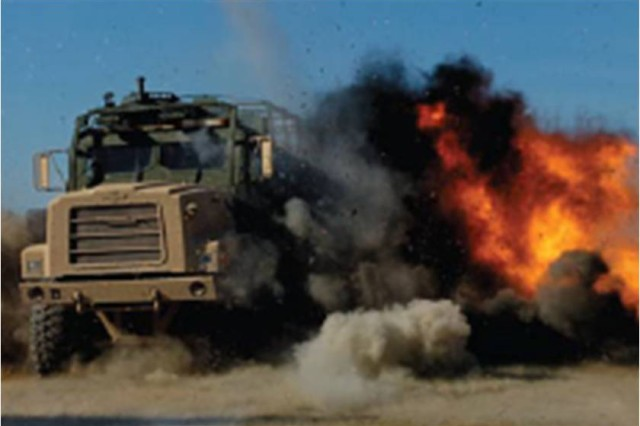 The U.S. Army Aberdeen Test Center is the Army's Center for Excellence for congressionally mandated live-fire vulnerability lethality testing, as shown in this live fire shot on a Medium Tactical Vehicle Replacement.