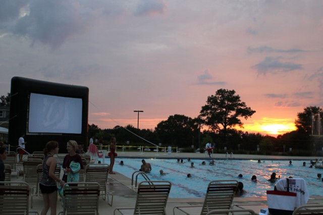 Children swim and play in the pool at last year's Dive-In Theater.