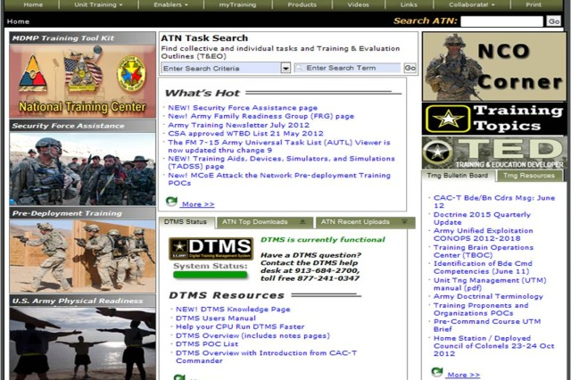 The Army Training Network, at https://atn.army.mil, is the Army's first-stop online portal to help units and leaders plan and conduct their unit training.  The Army Training Network offers doctrine, tools, resources, products, and videos and is operated by the Training Management Directorate at Fort Leavenworth, Kan.