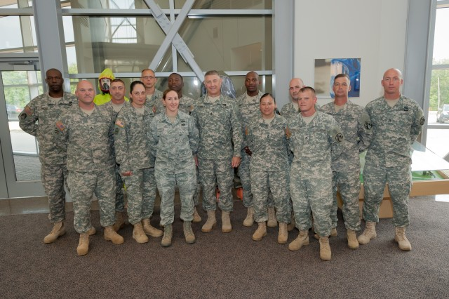 Non-commissioned officer instructors at Fort Leonard Wood meet with Sgt. Maj. of the Army Raymond F. Chandler III during his tour of the 1st Lt. Joseph Terry Chemical, Biological, Radiological and Nuclear Responder Training Facility Aug. 2, 2012.