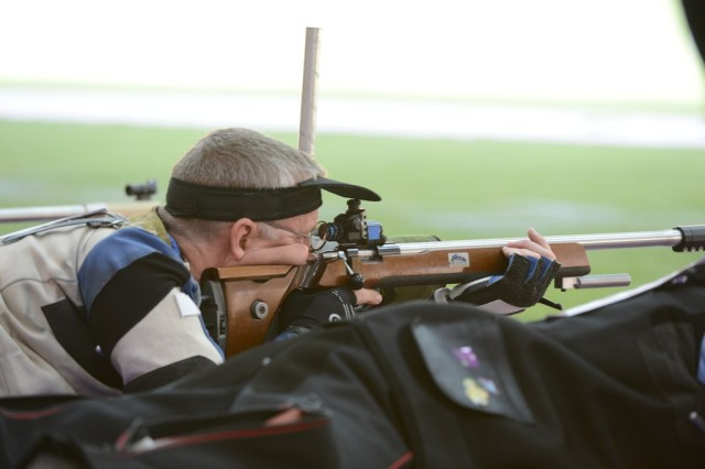 U.S. Army Marksmanship Unit Sgt. 1st Class Eric Uptagrafft finishes 16th in the Olympic men's 50-meter rifle prone event, Aug. 3, 2012, at the Royal Artillery Barracks in London. Uptagrafft tallied 594 qualification points, one point shy of landing in a shoot-off for a spot in the eight-shooter finals.