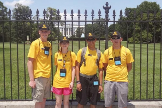 (From left) Cadet Master Sgt. Danny Matchette, 16, First Cadet Sgt. Victoria Jarret, Cadet Lt. Col. Jesse Bustamante, 17, and Cadet Command Sgt. Maj. Glen Klotz, pose outside of the White House while at a national Junior Reserves Officer Training Corps competition earlier this summer.