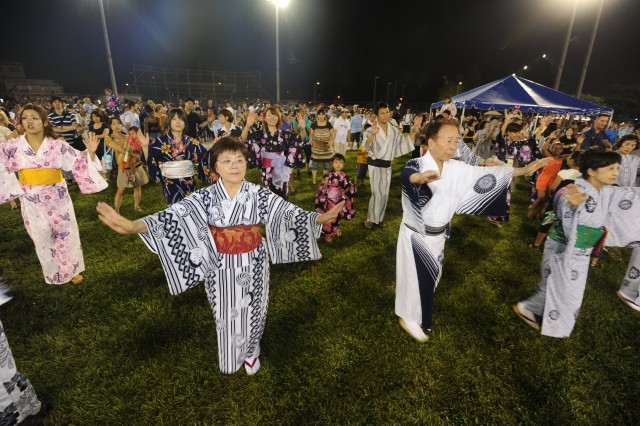 Many of the participants danced while wearing traditional Japanese summer kimonos, or yukatas, during Camp Zama's 53rd annual Bon Odori Festival, at Camp Zama, Japan, Aug. 4, 2012..
