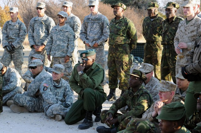 Botswana Defense Force, U.S. Soldiers and Marines receive instruction in classes on skills ranging from evaluating a casualty to reacting to an ambush. U.S. military personnel are in Botswana to participate in Southern Accord 2012, a joint military exercise to enhance readiness capabilities of all the forces involved.