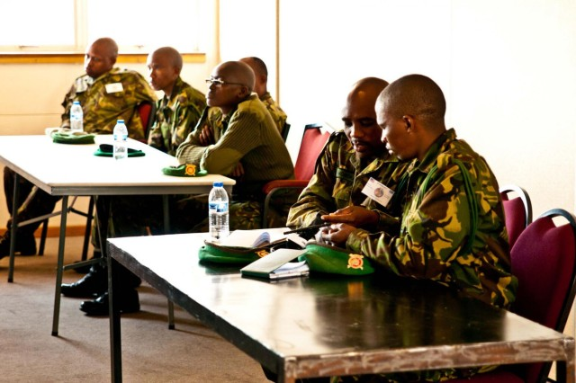 Soldiers from the Botswana Defense Force learn about the importance of the combat-applied tourniquet during medical training at Thebephatshwa Air Base, Botswana, during Southern Accord 2012. Southern Accord brings together the Botswana Defense Force and U.S. service members to foster security cooperation while conducting a combined, joint humanitarian assistance, peacekeeping operations and aeromedical evacuation exercise.