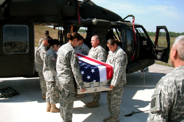 Soldiers from the 615th Transportation Battalion of Springer, N.M., simulate the dignified transfer of a service members casket as part of their mortuary affairs training with the 205th Infantry Brigade, First Army Division East. The unit will deploy to the Sinai Peninsula as part of the Multi-National Forces and Observers Mission to supervise the implementation of the security provisions of the Egyptian-Israeli Treaty of Peace and ensure every effort is made to prevent a violation of its terms.