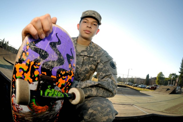 Pvt. Jose Rodriguez is a food service specialist from Del Rio, Texas, assigned to I Corps Special Troops Battalion Dining Facility, Joint Base Lewis-McChord, Wash. Rodriguez has been skateboarding for more than six years and continues to enjoy his passion for skating at the parks provided by JBLM.