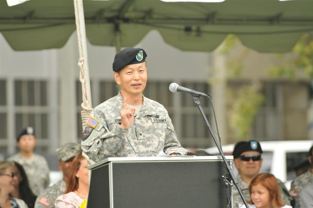 """MOUNTAIN VIEW, Calif.  """" The Commanding General of the 351st Civil Affairs Command, Brig. Gen. Stephen K. Curda addresses the soldiers of the 351st CACOM during his assumption of command ceremony on Aug. 5, 2012."""