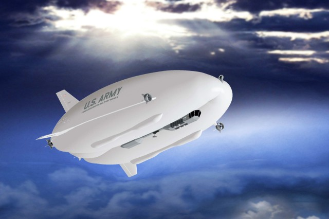 An artist's rendering of the Long Endurance Multi-Intelligence Vehicle.  A hybrid air vehicle, the LEMV flew for more than 90 minutes, Aug. 7, 2012, above Joint Base McGuire-Dix-Lakehurst, N.J.