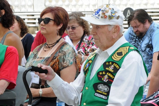 Master sergeant stripes on his green campaign vest, William J. Hanusek, was just 21 when he found himself on Guadalcanal as a medic with the 164th Infantry Regiment of the Americal Division. Hanusek was one of 15 members of the Guadalcanal Campaign Veterans Association who commemorated at Arlington National Cemetery, Va., the 70th anniversary of the south Pacific battle that raged from Aug. 7, 1942 until Feb. 9, 1943.