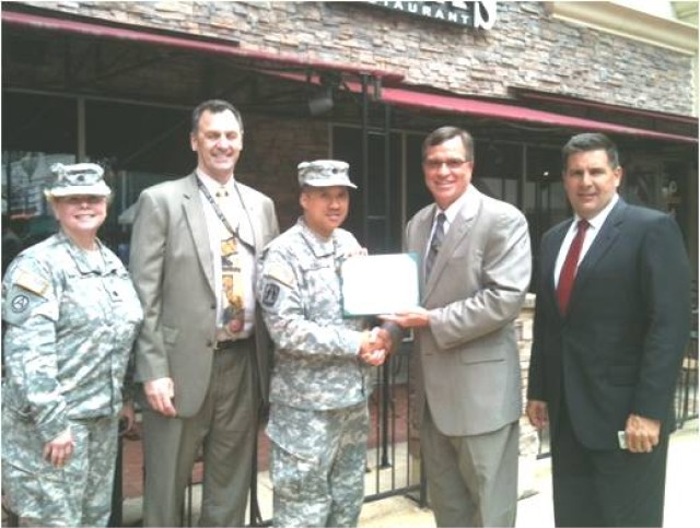 LTC King Kao receives the Army Staff Identification Badge Certificate
