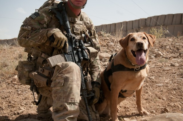 Pfc. John Casey, a military dog handler assigned to the 4th Infantry Brigade Combat Team, 1st Infantry Division, and native of Orting, Wash., along with his partner Roxy, pose for the camera at the conclusion of their training on Forward Operating Base Sharana, Afghanistan, Aug. 10, 2012.