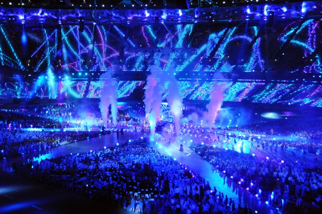 Olympic athletes fill the center of the stadium during a spectacular light show of the London 2012 Closing Ceremony, Aug. 12, 2012.