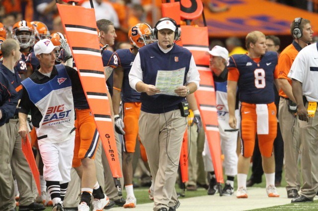 Syracuse University football Head Coach, Doug Marrone, walks the sideline at a recent football game at the Carrier Dome in Syracuse, N.Y.