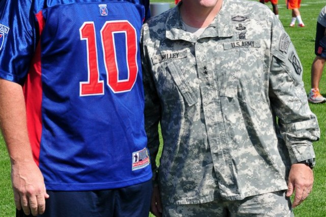 Syracuse University football head coach, Doug Marrone, stands with Maj. Gen. Mark A. Milley, Commanding General of the 10th Mountain Division and Fort Drum, during the football team's first day of practices at Fort Drum, Aug. 13.   The SU football team is at Fort Drum for a weeklong preseason training camp.