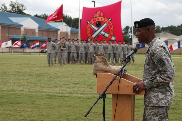 Command Sgt. Maj. Sultan A. Muhammad, Ordnance Corps regimental command sergeant major, addresses the Soldiers and guests during his relinquishment of responsibility ceremony Aug. 10.