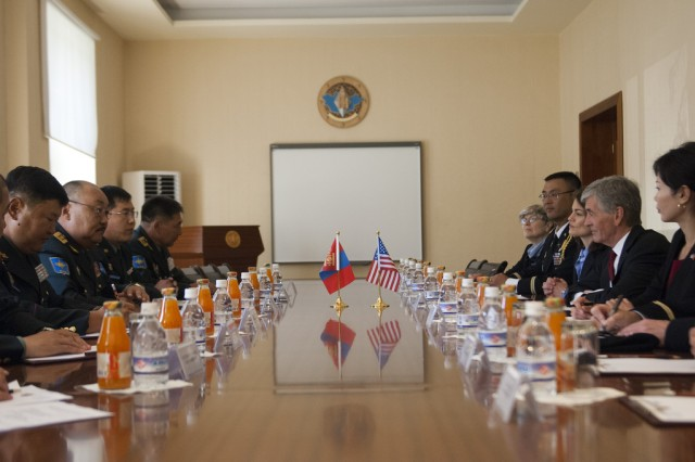 Secretary of the Army John McHugh meets with Lieutenant General Tserendejid Byambajav, Chief of the General Staff of Armed Forces of Mongolia, and members of his staff during a visit to the Ministry of Defense in the capital city of Ulaanbaatar, Aug 13, 2012. (U.S. Army photo by Spc. John G. Martinez)