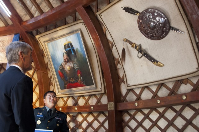 Secretary of the Army John McHugh views artifacts from the era of Genghis Khan during a visit to the Ministry of Defense for Mongolia in the capital city of Ulaanbaatar, Aug 13, 2012. (U.S. Army photo by Spc. John G. Martinez)