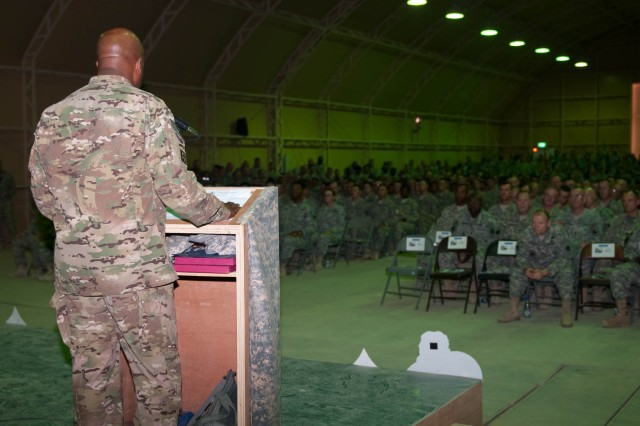 "Command Sgt. Maj. Karl A. Roberts, the senior enlisted advisor for Joint Sustainment Command "" Afghanistan and the 3d Sustainment Command (Expeditionary), speaks to graduates of the Third Army Noncommissioned Officer Academy's Warrior Leader Course graduation ceremony at Camp Buehring, Kuwait on August 6, 2012.  (U.S. Army photo by Staff Sgt. Michael Behlin)"