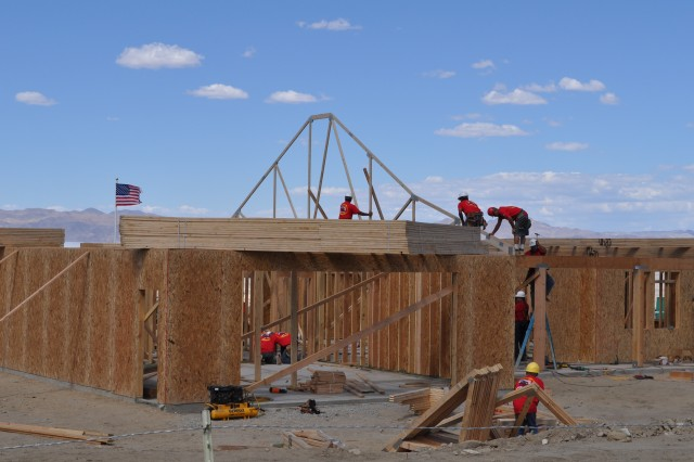 House-raising at new home of wounded warrior Tim Hall, in Hawthorne, Nev.