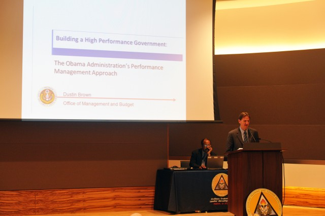Dustin Brown, deputy Asociate Director for Performance and Personnel Management, Executive Office of the president, office of Budget Management, gives the keynote address on improving program performance.