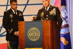 Col. Christopher S. Ballard, G-3 and Command Sgt. Maj. Roger P. Blackwood, U.S. Army Cyber Command at AFCEA