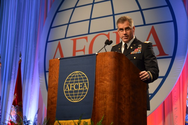 Col. Christopher S. Ballard, Army Cyber G-3, speaks during a luncheon at the AFCEA TechNet Land Forces Aconference in Baltimore, Aug. 14, 2012.
