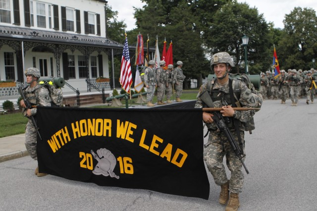 "The Class of 2016 introduced their class motto, ""With Honor We Lead"" to the crowds cheering them on, Aug. 13, 2012, during the 12-mile March Back from Camp Buckner to West Point."