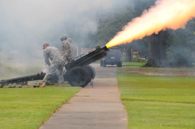 Cannons were fired during a change of command ceremony to welcome Maj. Gen. Kevin W. Mangum, U.S. Army Aviation Center of Excellence and Fort Rucker commanding general, as he assumed command from Maj. Gen, Anthony G. Crutchfield Aug. 10.