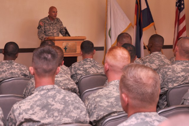 FORT CARSON, Colo. -- Maj. Gen. Joseph Anderson, commanding general, 4th Infantry Division and Fort Carson, addresses the audience at the Army Emergency Relief recognition ceremony Aug. 9 at the Elkhorn Conference Center.